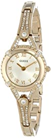 GUESS U0135L2 Womens Yellow Gold-Tone Petite Crystal Watch