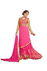 YOUR CHOICE Georgette Pink Embroideried Women's Gown HTS1003