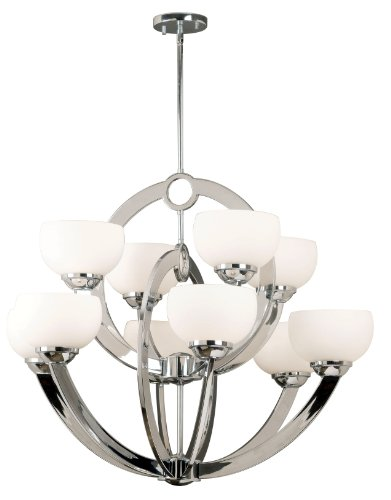 Kenroy Home 91555CH Nova 10 Light Chandelier, Chrome Finish