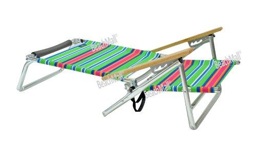 Canopy Beach Chair 5 Pos Low Seat Layflat Aluminum