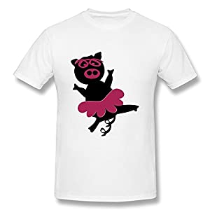 New Arrival Funny Ballerina Pig Tee Boy US Size XL White