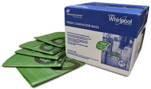 Whirlpool W10351674RB 15-Inch Plastic Compactor Bags, 60-Pack