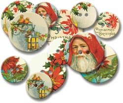Jenni Bowlin Studio Chipboard Buttons 12/Pkg-Vintage Christmas; 3 Items/Order