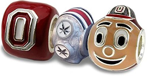 Ohio State Buckeyes 3-D Charm Set of Three - Block O + 6-Leaf Helmet + Brutus