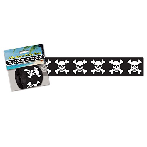 Beistle Pirate Poly Decorating Material, 3-Inch by 50-Feet, Black/White