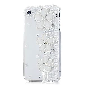 3D Strass Klar Kristall Schutzhülle für Apple iphone 4 4S Hülle (harte Rückseite) Bling Glitzer Tasche Etui mit Diamant Blume Quaste Perle Transparent
