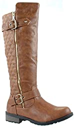 Forever Mango-21 Women\'s Winkle Back Shaft Side Zip Knee High Flat Riding Boots Tan 10