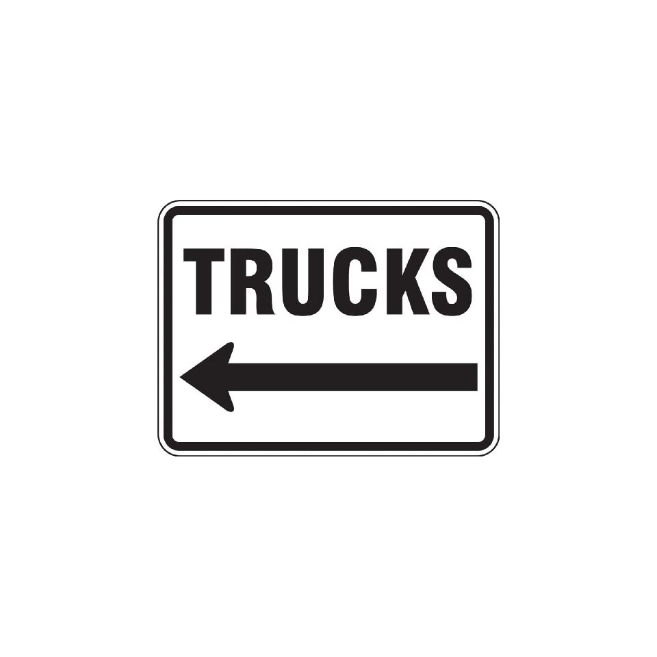Accuform Signs FRR281RA Engineer Grade Reflective Aluminum Facility Traffic Sign, Legend TRUCKS (ARROW LEFT), 18 Length x 24 Width x 0.080 Thickness, Black on White