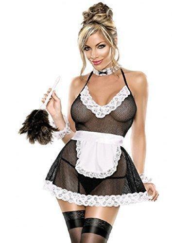 Damen Kostüm Sexy Französisches Zimmermädchen Sexy Rollenspiel Unterwäsche 3-teilig günstig kaufen