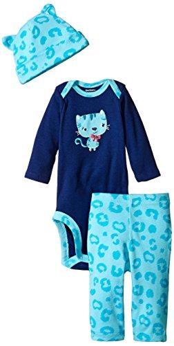 Gerber Baby-Girls Newborn 3 Piece Bodysuit Cap and Legging Set, Cat, 6-9 Months