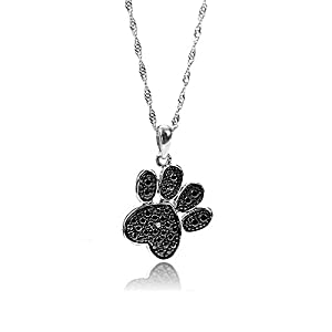 GemsChest 925 Sterling Silver Cute Dog Paw Print Pendant Necklace Diamond Accent Black Plated Jewelry , 18