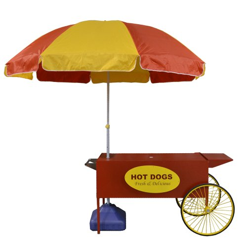 Paragon Large Hot Dog Cart, Red (Hot Dog Cart Umbrella compare prices)