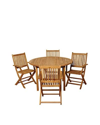 Amazonia Teak Ohio 5-Piece Round Dining Set, Brown