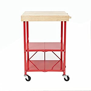 Origami folding island kitchen cart red for Collapsible kitchen cart