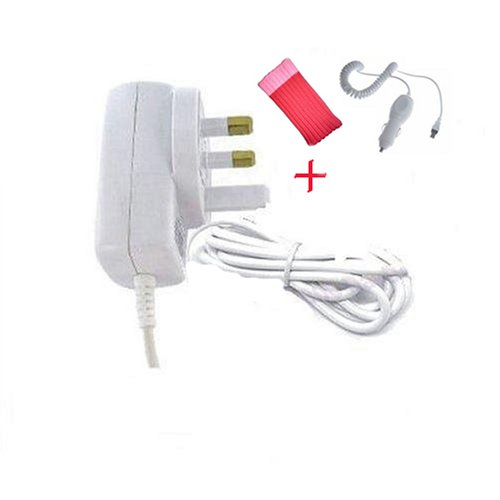 Sumnique 3 Pin UK Mains Charger For Creative Zen Stone + Zen Stone Car Charger & Free Funky Pink Sock