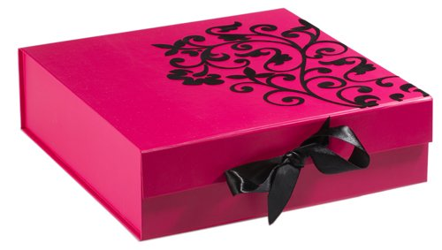Think Posh Fuschia Pink/Black Flock Keepsake Gift Box, Small