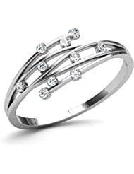 AT Jewellers 14K White Gold Over Sterling White CZ Bypass Ring For Women's