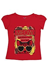 Poppers by Pantaloons Girl's Crew Neck T-Shirt (205000005621524, Red, 11-12 Years)