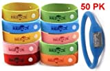 41lYKvWTyHL. SL160  50 (FIFTY) PACK Bugslock   PLUS FREE WATCH   Wholesale Lot of Bugslock Mosquito repellent wrist band bracelet. This citronella wristband repels mosquitoes quickly. Bugs Lock Bracelet Wrist bands adjustable for kids, small children, and adults