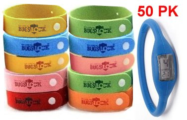 50 (FIFTY) PACK Bugslock - PLUS FREE WATCH - Bugslock Mosquito repellent wrist band bracelet. This citronella wristband repels mosquitoes quickly. Bugs Lock Bracelet Wrist bands adjustable for kids, small children, and adults