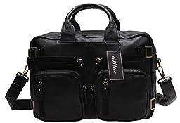 Iblue Mens Genuine Leather Briefcase Backpack Laptop Messenger Bag 15 Inch #9026 (black)