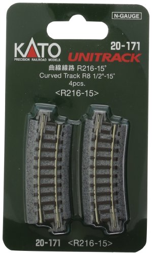 "Kato USA Model Train Products Unitrack, 216mm (8 9/16"") Radius 15-Degree Curve Track (4-Piece) - 1"