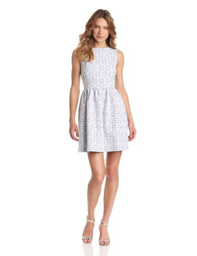 Kensie Women's Eyelet Jacquard Dress, Birch Combo, 4