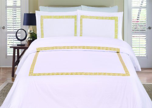 Serena 3-Piece Embroidered Queen Duvet Cover Set, White/Gold front-671444