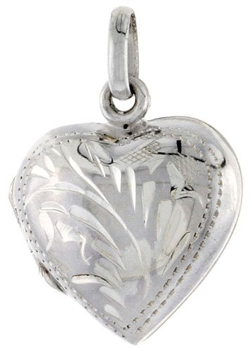 Small Sterling Silver Hand Engraved Heart Locket, 5/8 in. X 5/8 in.