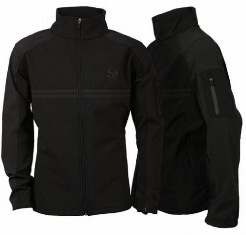 Sergio Tacchini Tech Men's Casual Full Zip Wind Rain Jacket black grey Medium