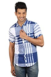 Le Tailor Men's Slim Fit Casual Checkered Shirt (SLCHS103, White & Blue)