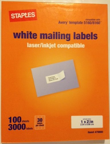 staples white mailing labels for laser printers 1 x inch 100 sheets 3000 labels office