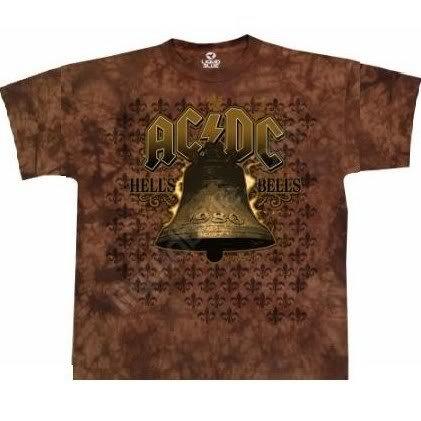 AC/DC 'Hells Bells' brown tie dye t-shirt (Large)