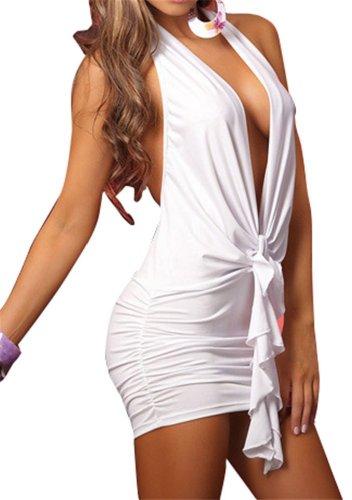 Dessous Vorne Offen V Neckholder Stretch Bodycon Kleid Der Frauen
