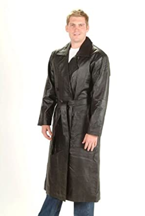 Buy Mens Long Trench coat Button  belted Black Genuine Soft Leather Jacket by Dona+Michi+Leather