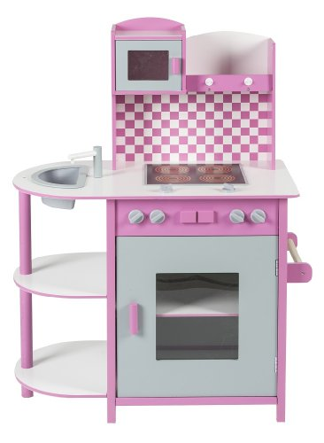 Impag® Kinderküche Spielküche Holzküche 100 x 70 x 40 cm Quadro Pink
