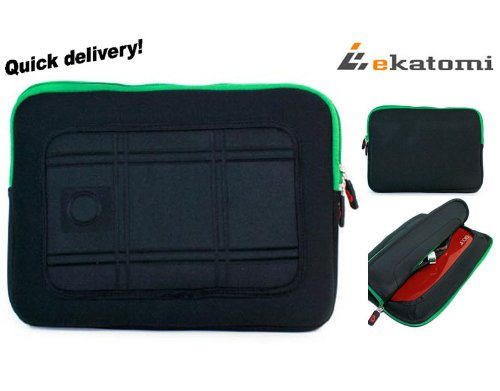 [MAS] Fresh & BLACK | Universal 10-inch Tablet Casket / Soft Sleeve for 10.1 Zenithink ZT180 Touchscreen Google Android. Hand-out Ekatomi Screen Cleaner