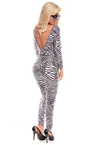 Lolli Couture V-Shape Open Back Catsuit Jumper Black/Zebra L front-1009344