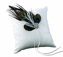 buy Ivy Lane Design Peacock Collection Ring Pillow, White