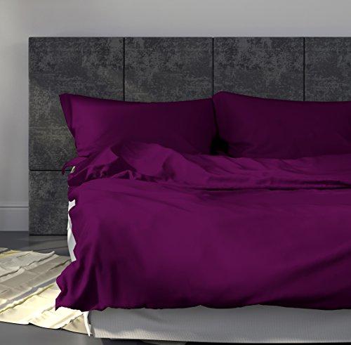 Mako-Satin-Bettwsche-Set-Uni-240x220-cm-Lila-Bettdecke-und-Kopfkissen-Bezug-aus-Satin-Baumwolle-mit-Reiverschluss-Der-schne-elegante-3-tlg-Bett-Bezug-mit-leichtem-Glanz-fr-Paare