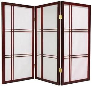 Oriental Furniture 3-Feet Cross Hatch Japanese Shoji Privacy Screen Room Divider, 4 Panel Rosewood