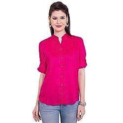 TUNTUK Women's Babli Shirt Pink Viscose Shirt