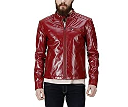 Lathero Men's Leather Jacket (SAJ-7A_Maroon_Small)