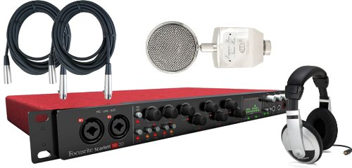Focusrite Scarlett 18I20 Usb 2.0 Audio Interface W/ Mxl Trophy Mic, Headphones, And 2 Xlr Cables