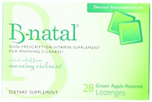 Everidis Health Sciences B-Natal Dietary Supplement Lozenges for Morning Sickness, Green Apple, 28-Count