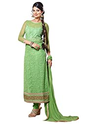 Surat Tex Light Green Color Party Wear Embroidered Soft Net Semi-Stitched Salwar Suit-H974DL2058