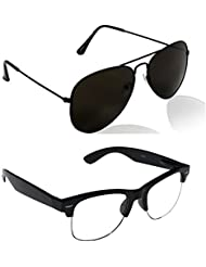Unisex Uv Protected Combo Pack Of Aviator Sunglasses And Clear HF Wayfarer Sunglasses ( Black Black - Clear HF...
