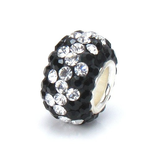 Bella Fascini Black & Clear Crystal Vine Pave Bead Charm, Made With Swarovski Crystal Elements, Solid Sterling Silver Slide-On Core European Charm