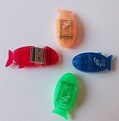 AKSHAJ Cute Fish Shape USB Micro SD Card Reader (Colors May Vary)