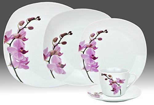 60 Pieces Tableware/Dinner Set Kyoto for 12 persons white porcelain with orchid pattern square shape with rounded corners & Cheap 60 Pieces Tableware/Dinner Set Kyoto for 12 persons white ...